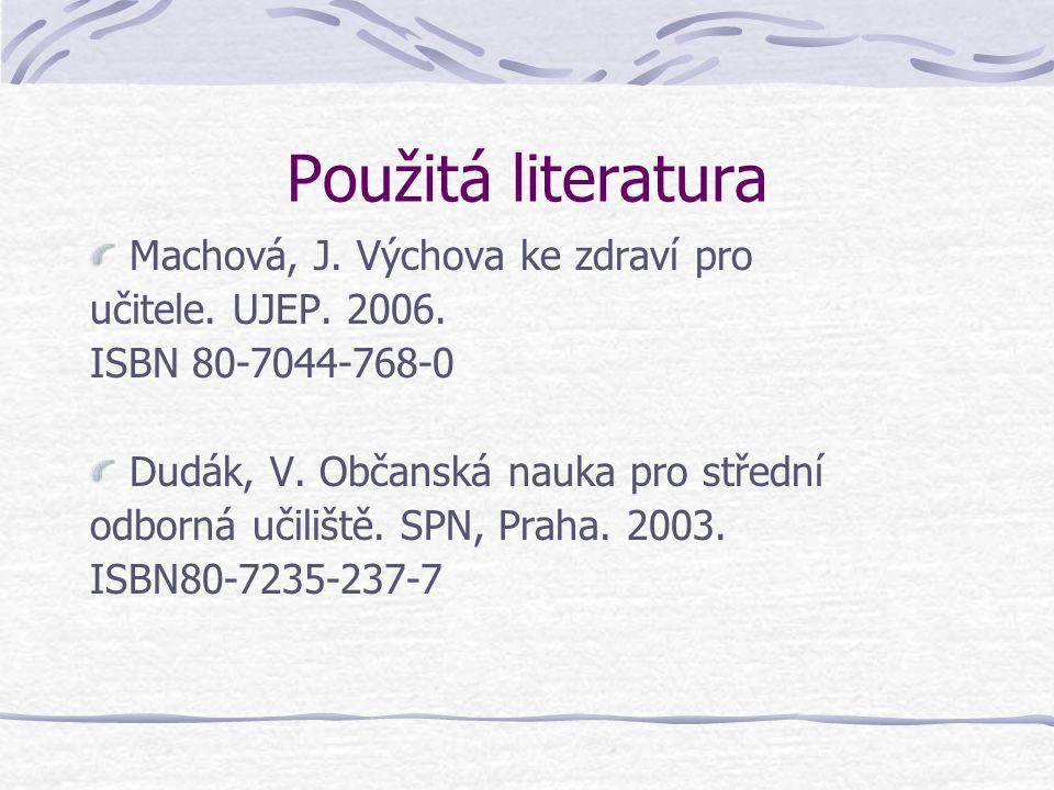 Použitá literatura Machová, J. Výchova ke zdraví pro