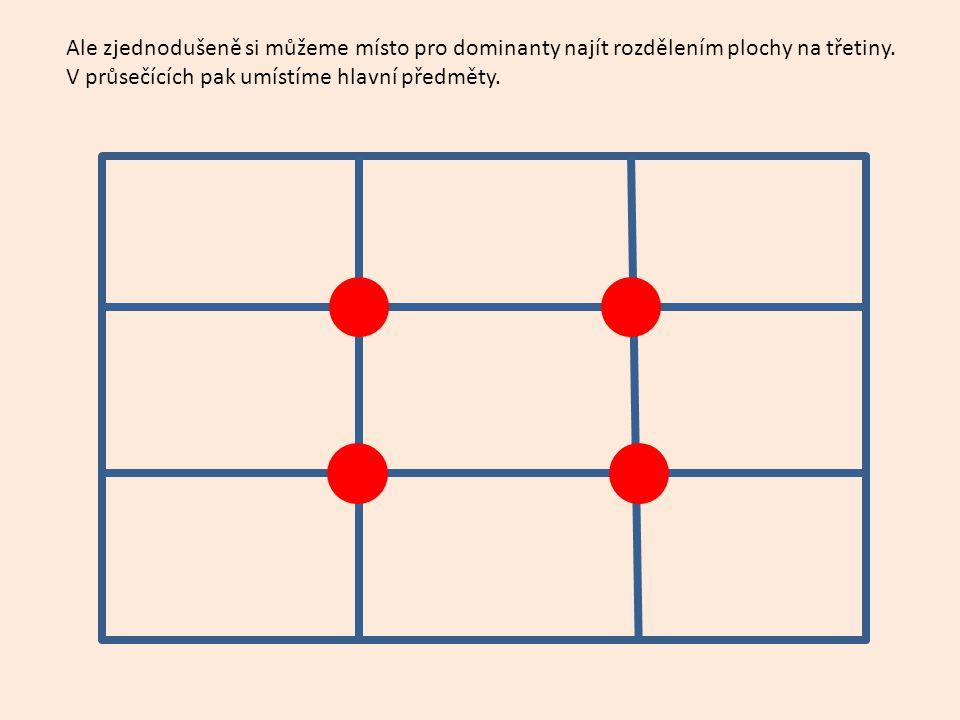 Ale zjednodušeně si můžeme místo pro dominanty najít rozdělením plochy na třetiny.