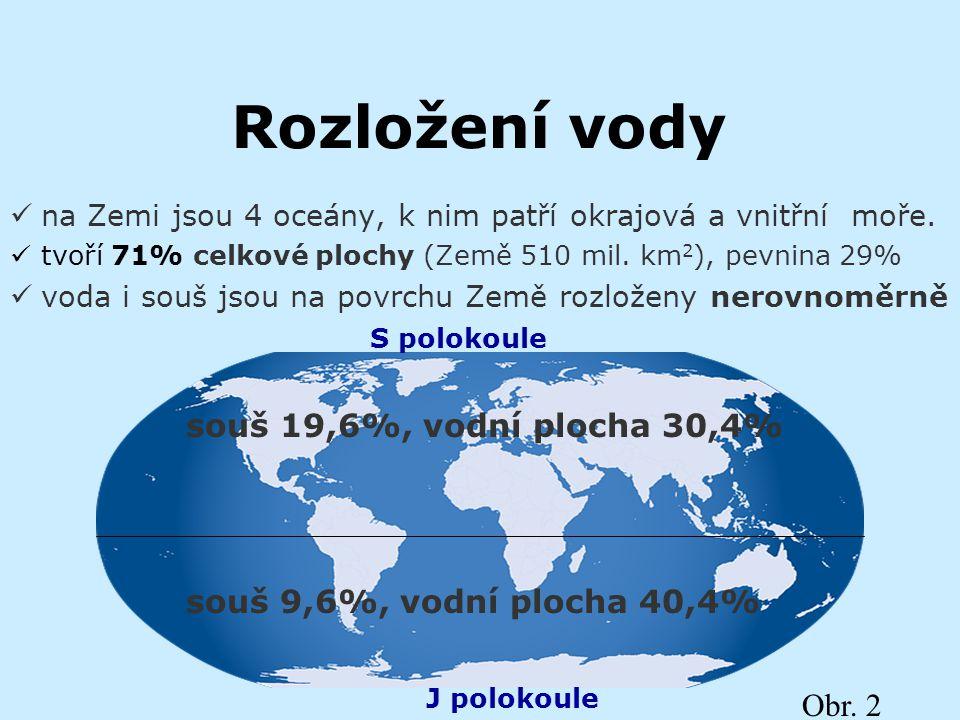Rozložení vody souš 19,6%, vodní plocha 30,4%