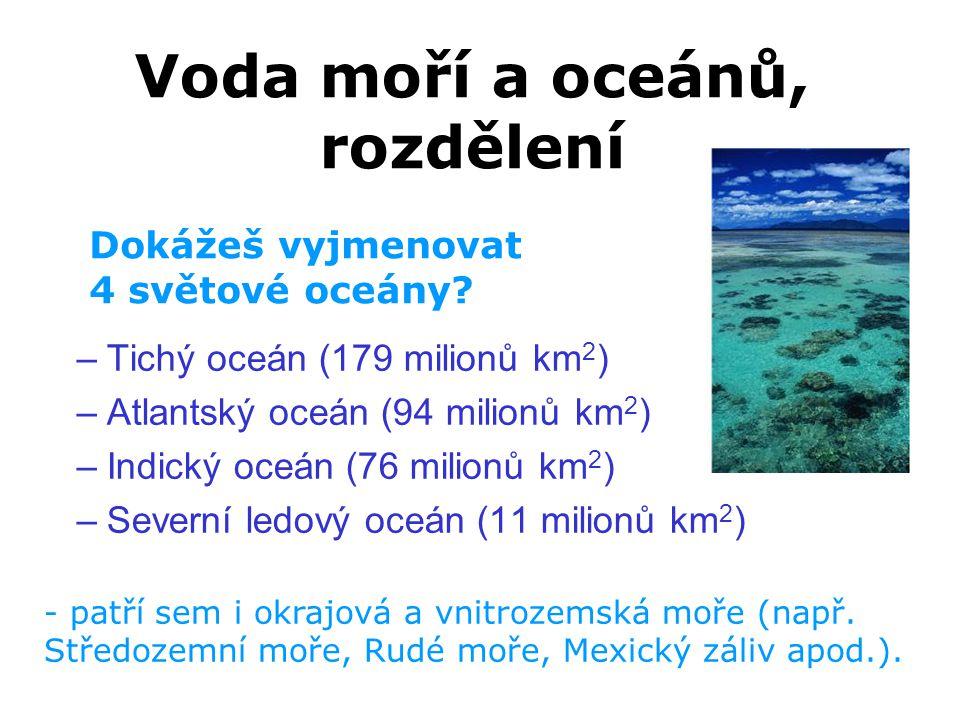 Voda moří a oceánů, rozdělení
