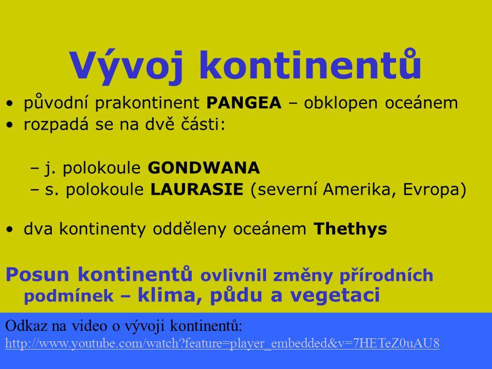 Vývoj kontinentů původní prakontinent PANGEA – obklopen oceánem. rozpadá se na dvě části: j. polokoule GONDWANA.