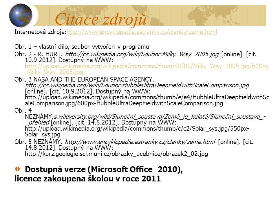 Citace zdrojů Dostupná verze (Microsoft Office_2010),