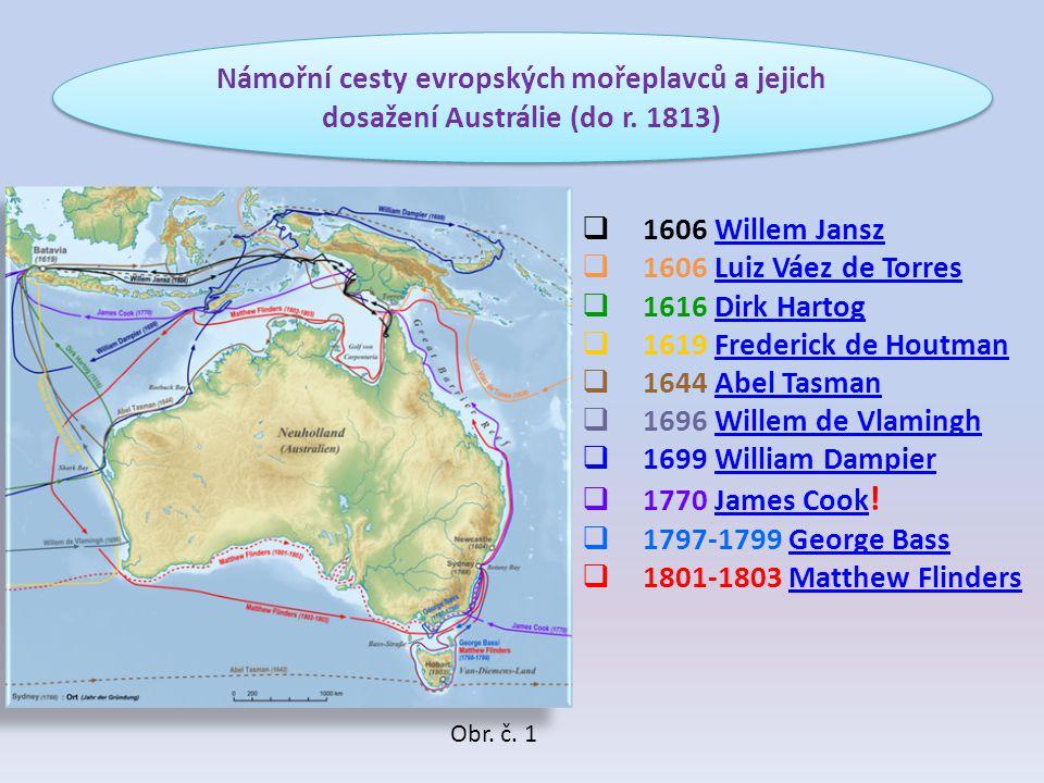 Námořní cesty evropských mořeplavců a jejich dosažení Austrálie (do r