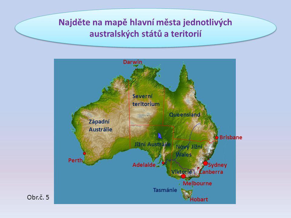 Najděte na mapě hlavní města jednotlivých australských států a teritorií