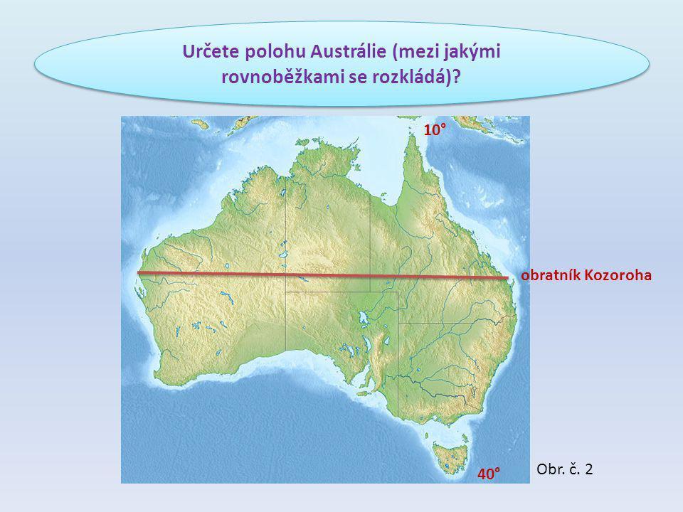 Určete polohu Austrálie (mezi jakými rovnoběžkami se rozkládá)