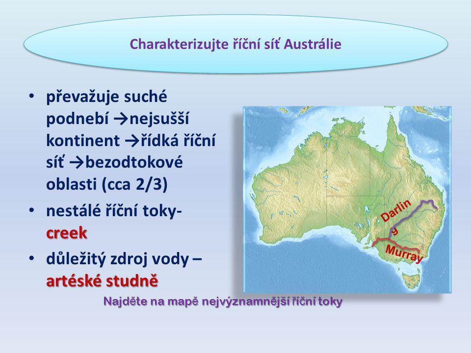 Charakterizujte říční síť Austrálie