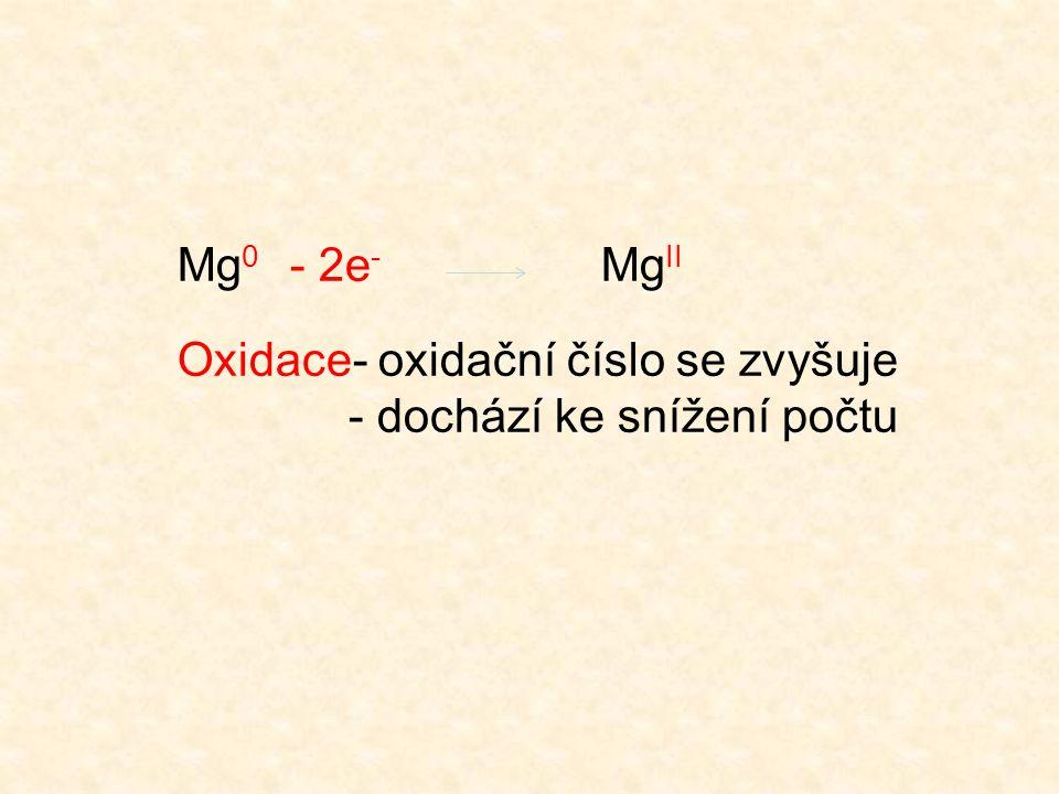 Mg0 - 2e- MgII Oxidace- oxidační číslo se zvyšuje - dochází ke snížení počtu