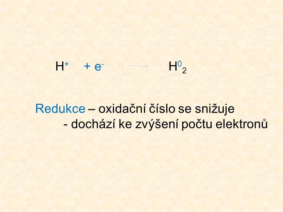H+ + e- H02 Redukce – oxidační číslo se snižuje - dochází ke zvýšení počtu elektronů