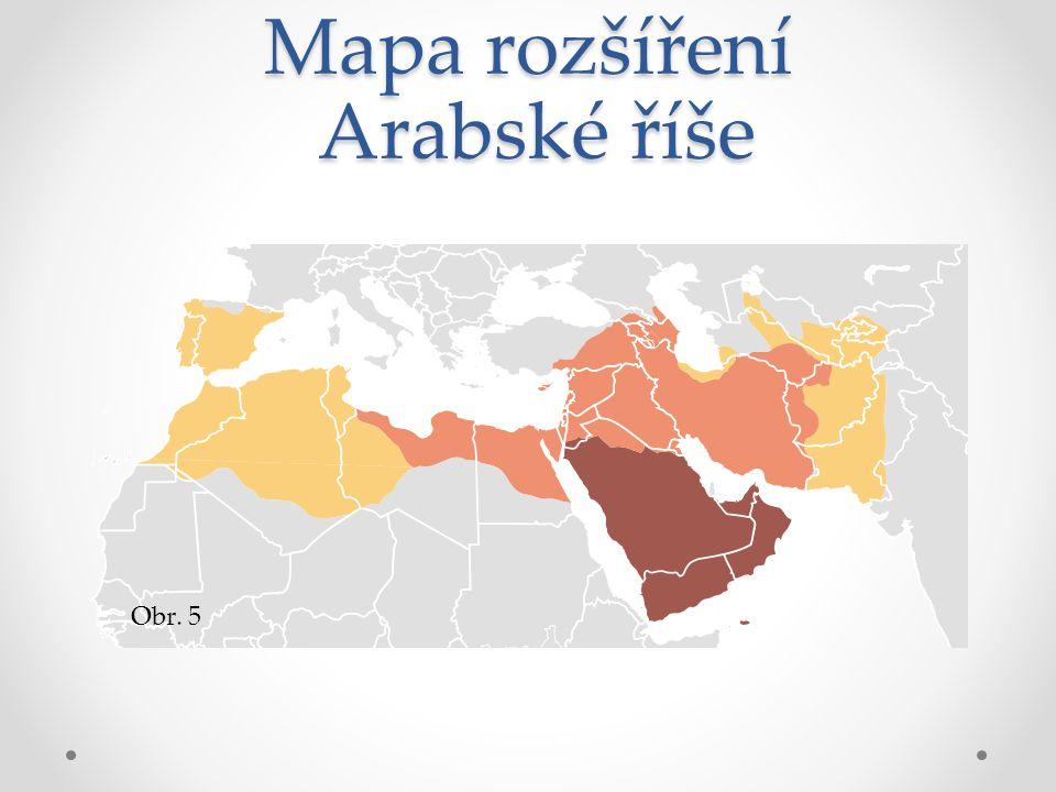 Mapa rozšíření Arabské říše