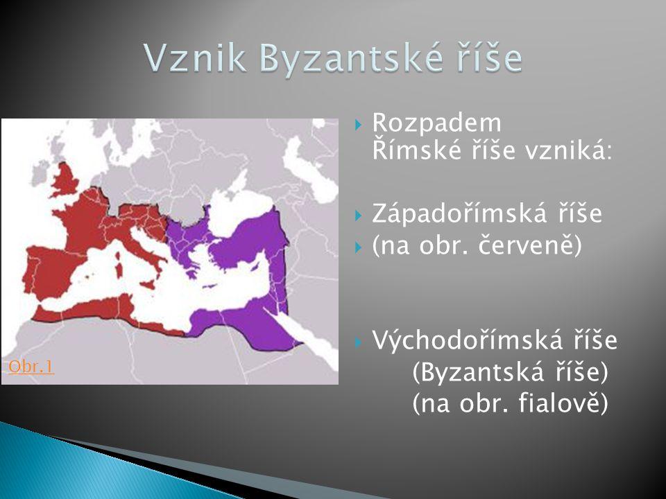 Vznik Byzantské říše Rozpadem Římské říše vzniká: Západořímská říše