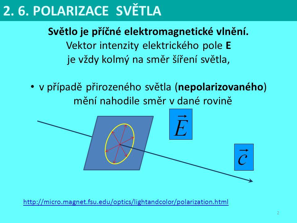 Světlo je příčné elektromagnetické vlnění.