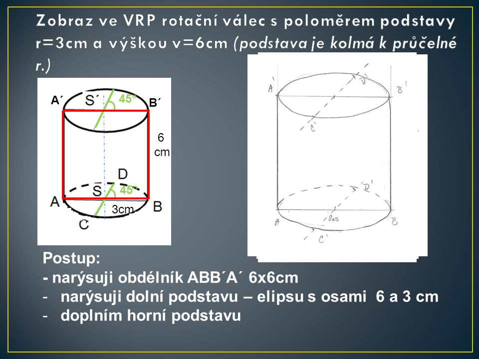 Zobraz ve VRP rotační válec s poloměrem podstavy r=3cm a výškou v=6cm (podstava je kolmá k průčelné r.)