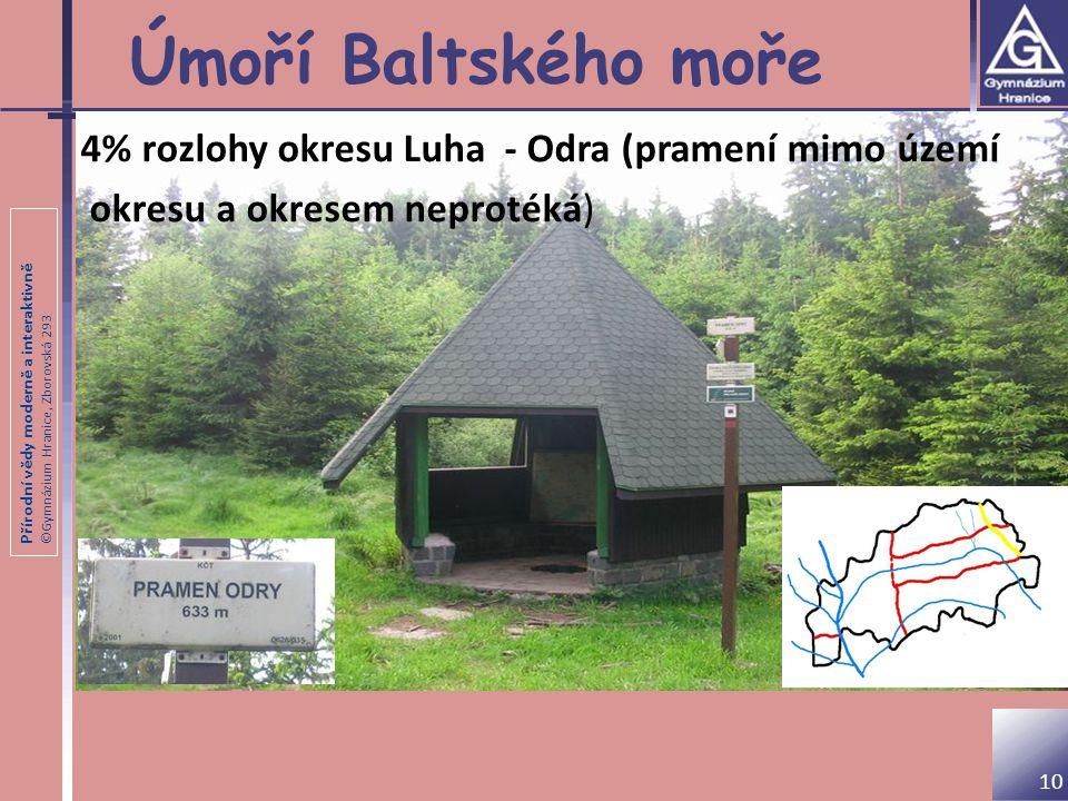 Úmoří Baltského moře 4% rozlohy okresu Luha - Odra (pramení mimo území