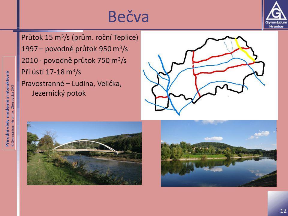 Bečva Průtok 15 m3/s (prům. roční Teplice)