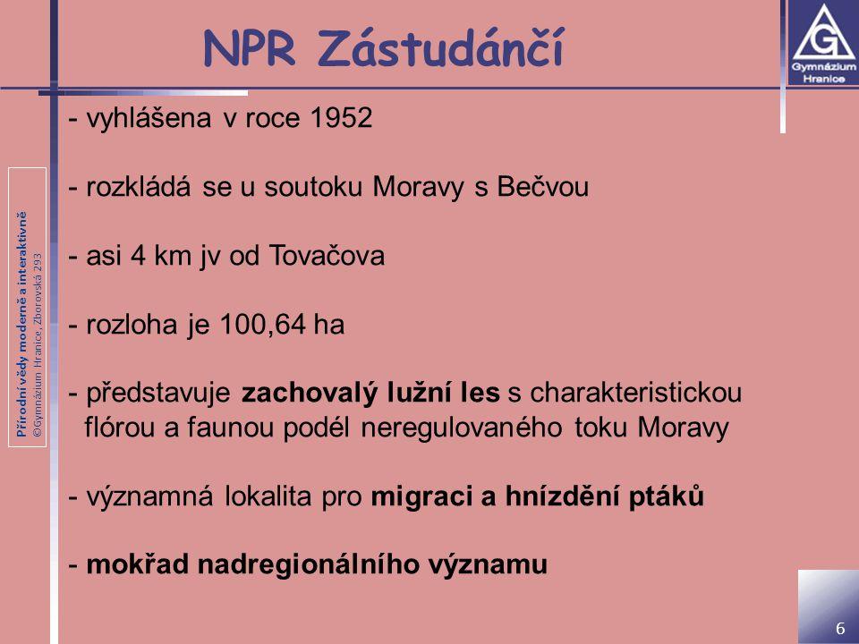 NPR Zástudánčí vyhlášena v roce 1952
