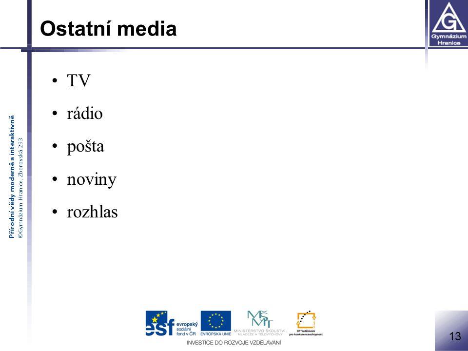 Ostatní media TV rádio pošta noviny rozhlas 13