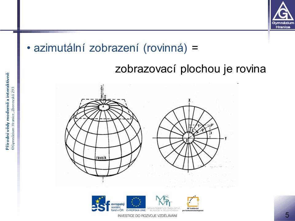 azimutální zobrazení (rovinná) = zobrazovací plochou je rovina