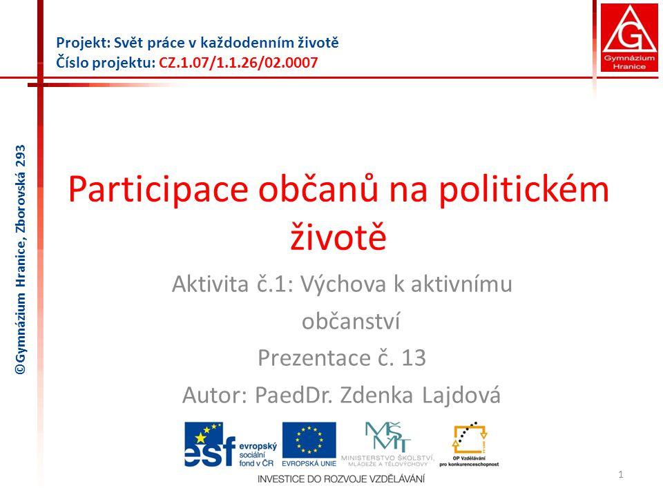 Participace občanů na politickém životě