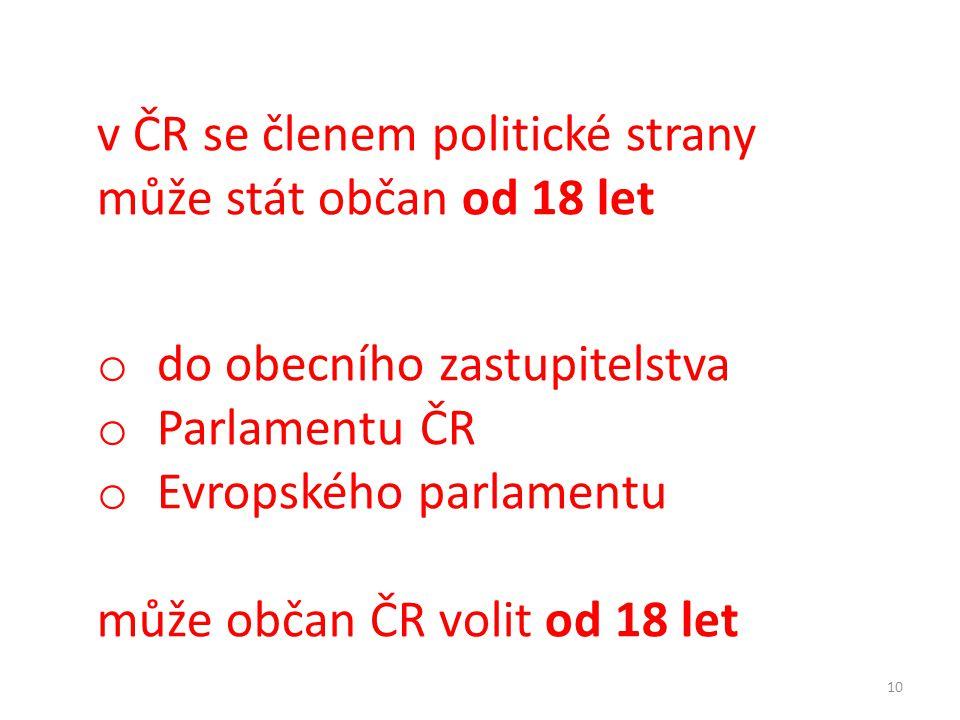 v ČR se členem politické strany může stát občan od 18 let