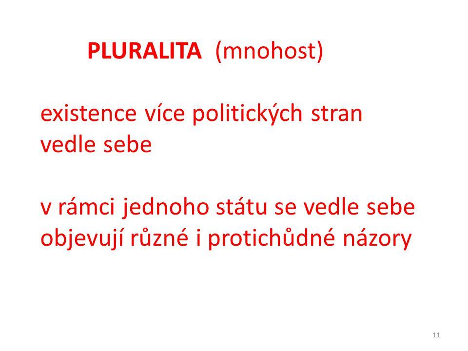 PLURALITA (mnohost) existence více politických stran vedle sebe.