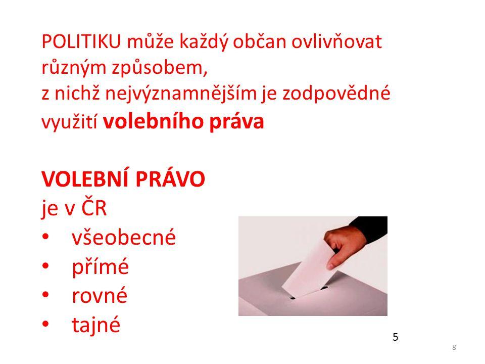 VOLEBNÍ PRÁVO je v ČR všeobecné přímé rovné tajné