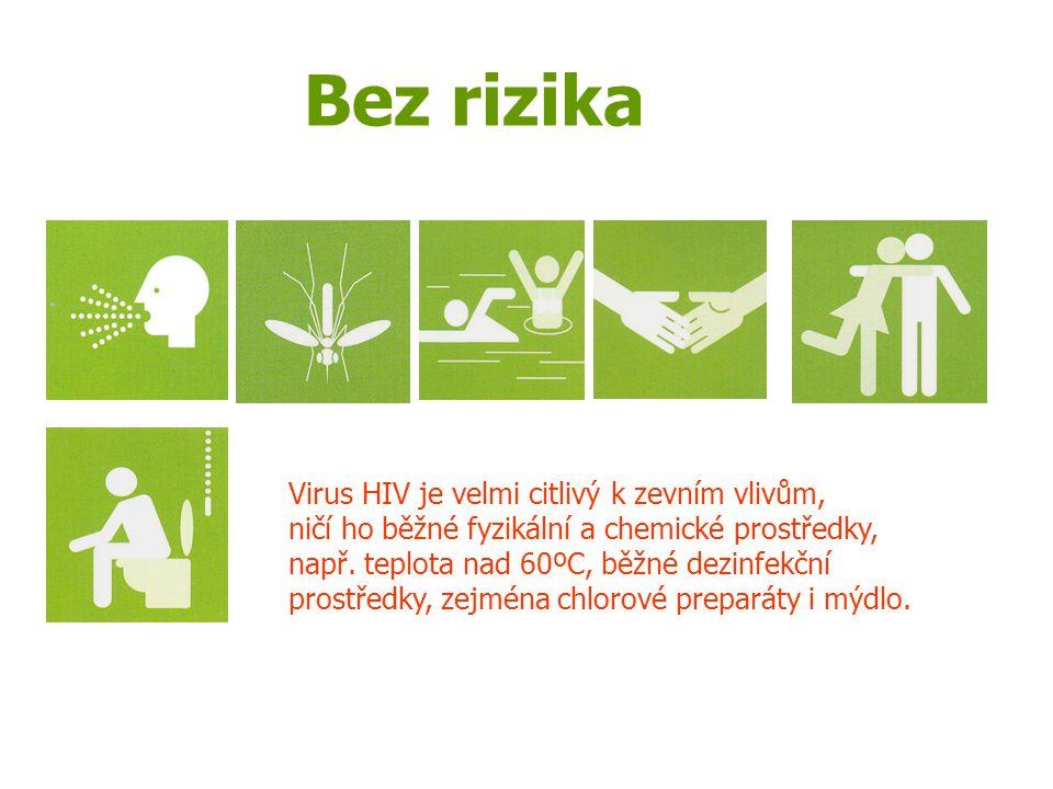 Bez rizika Virus HIV je velmi citlivý k zevním vlivům,