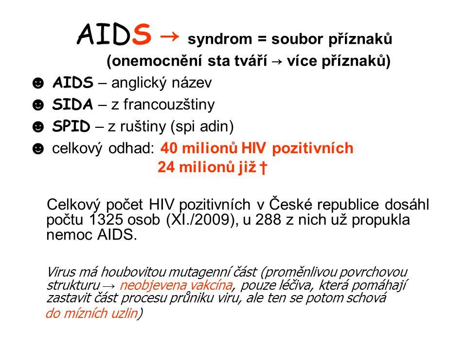 AIDS → syndrom = soubor příznaků (onemocnění sta tváří → více příznaků)