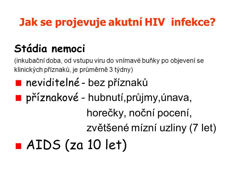 Jak se projevuje akutní HIV infekce