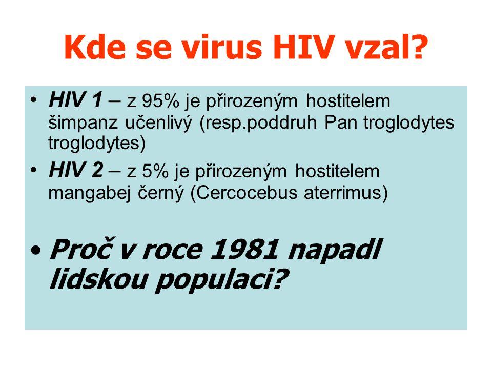 Kde se virus HIV vzal Proč v roce 1981 napadl lidskou populaci
