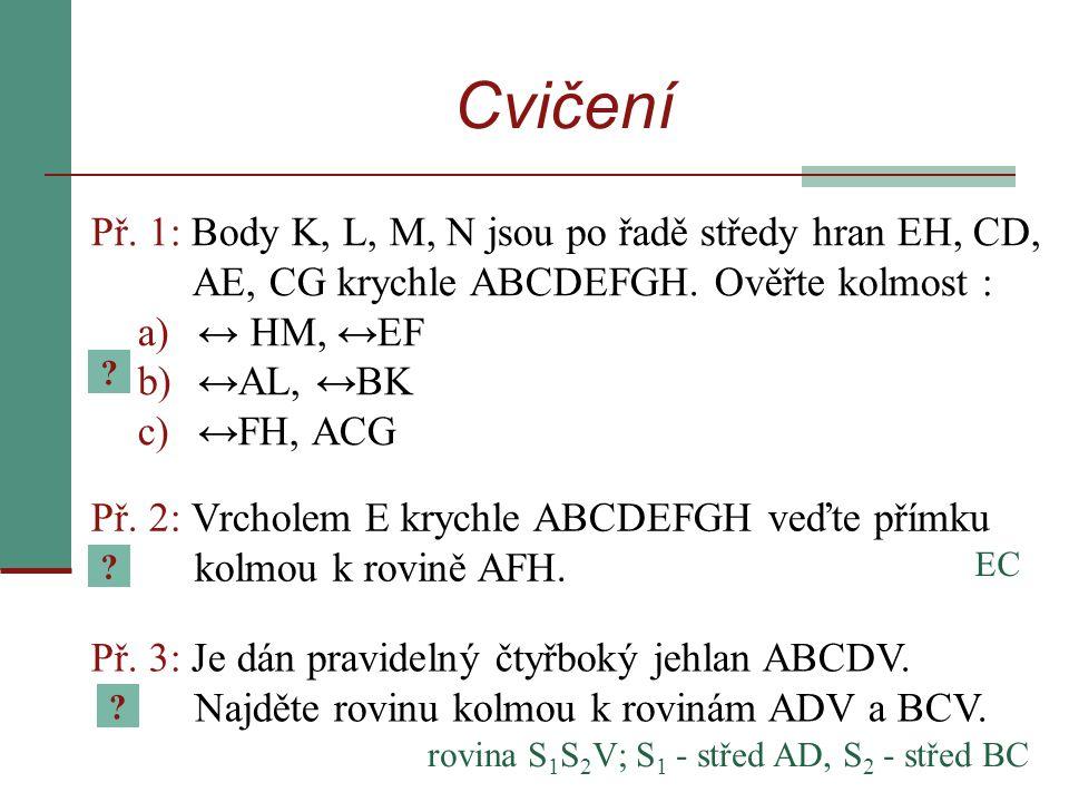 Cvičení Př. 1: Body K, L, M, N jsou po řadě středy hran EH, CD, AE, CG krychle ABCDEFGH. Ověřte kolmost :