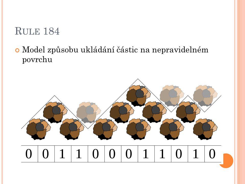 Rule 184 Model způsobu ukládání částic na nepravidelném povrchu