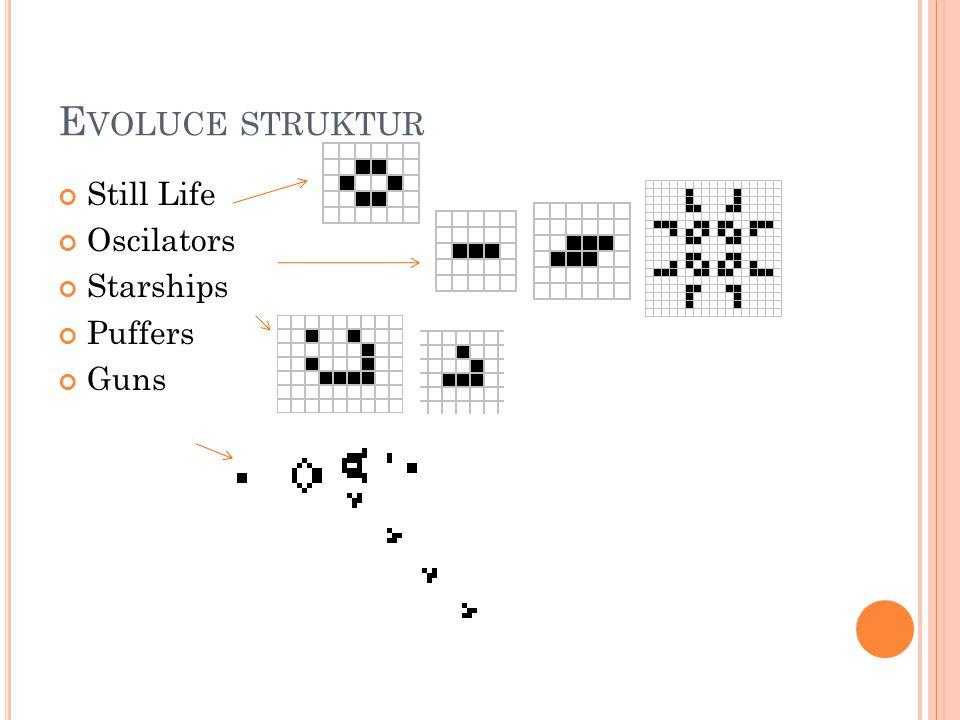 Evoluce struktur Still Life Oscilators Starships Puffers Guns
