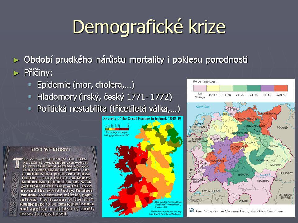 Demografické krize Období prudkého nárůstu mortality i poklesu porodnosti. Příčiny: Epidemie (mor, cholera,…)