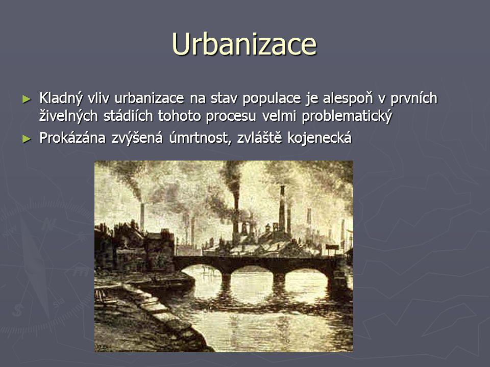 Urbanizace Kladný vliv urbanizace na stav populace je alespoň v prvních živelných stádiích tohoto procesu velmi problematický.