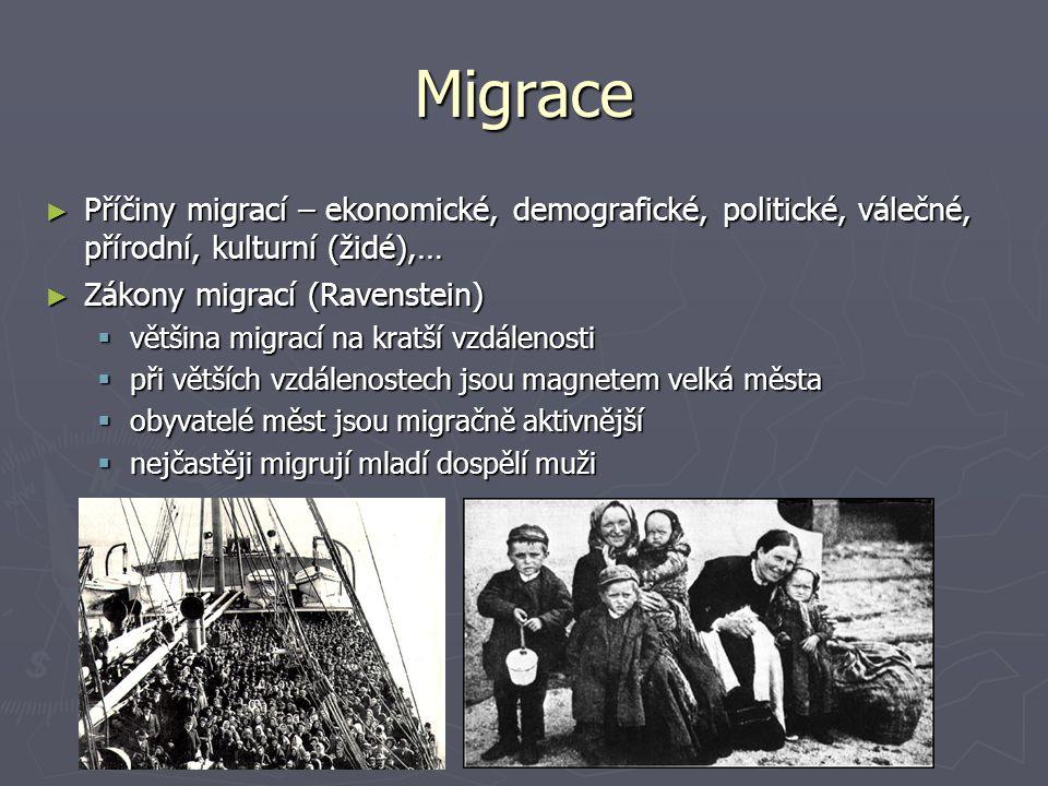 Migrace Příčiny migrací – ekonomické, demografické, politické, válečné, přírodní, kulturní (židé),…