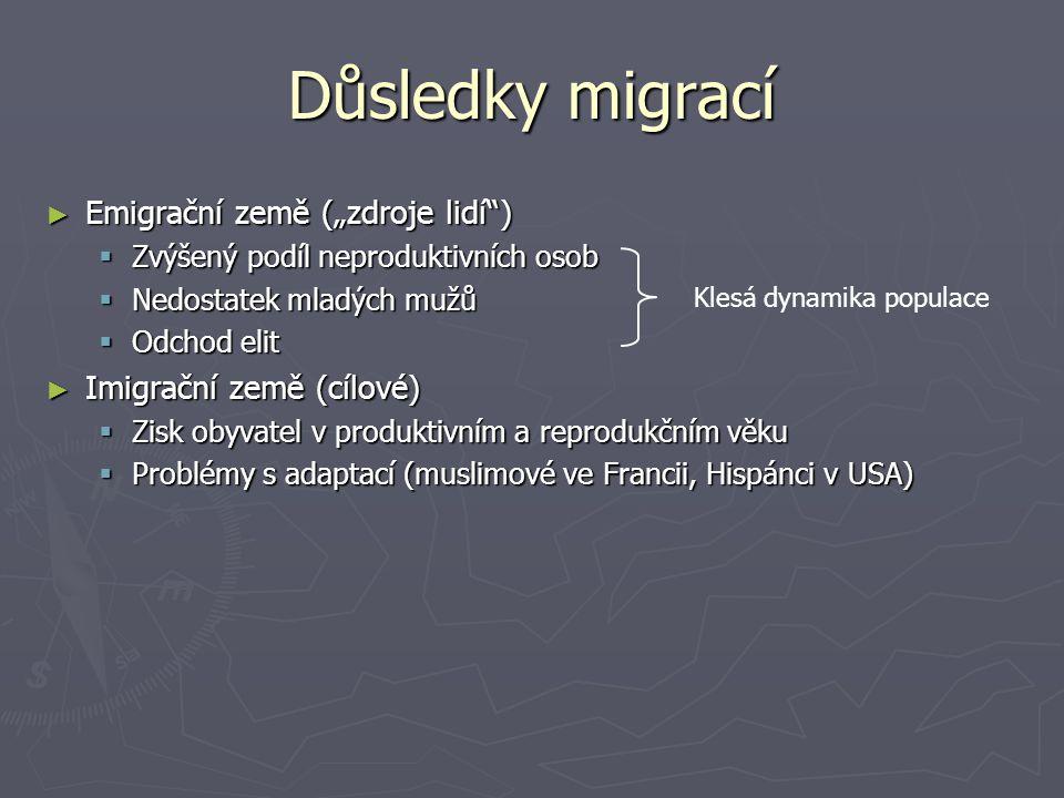 """Důsledky migrací Emigrační země (""""zdroje lidí )"""
