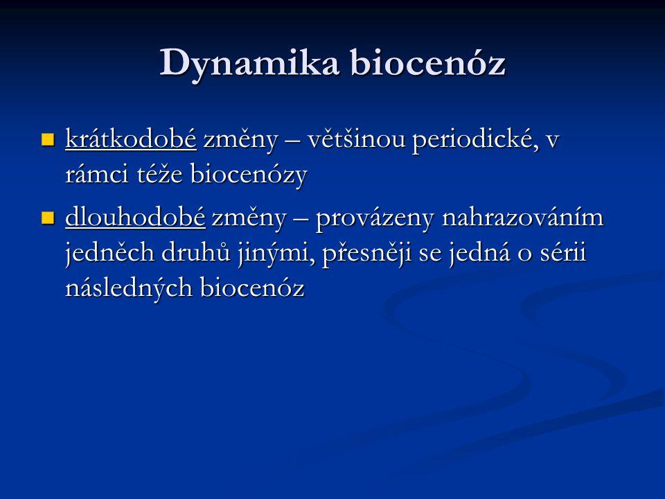Dynamika biocenóz krátkodobé změny – většinou periodické, v rámci téže biocenózy.