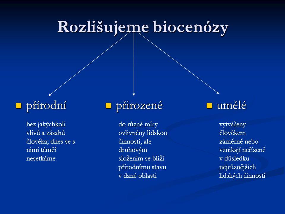Rozlišujeme biocenózy