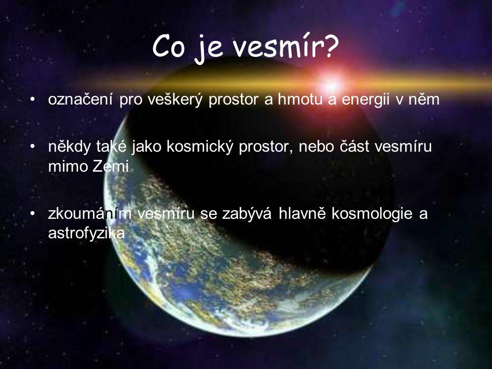 Co je vesmír označení pro veškerý prostor a hmotu a energii v něm