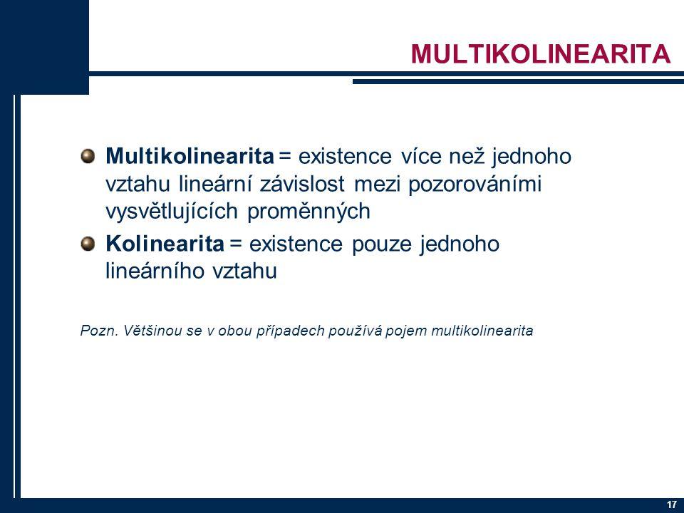 MULTIKOLINEARITA Multikolinearita = existence více než jednoho vztahu lineární závislost mezi pozorováními vysvětlujících proměnných.