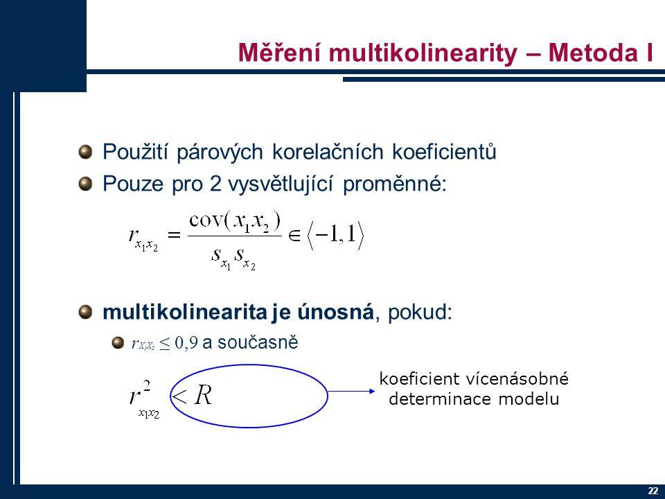 Měření multikolinearity – Metoda I