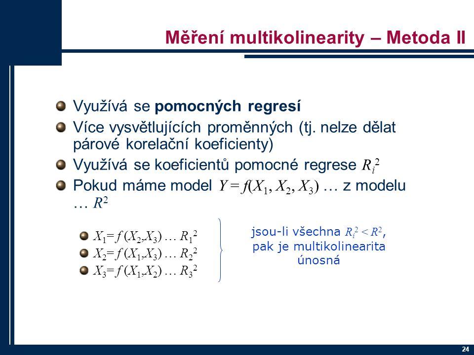 Měření multikolinearity – Metoda II