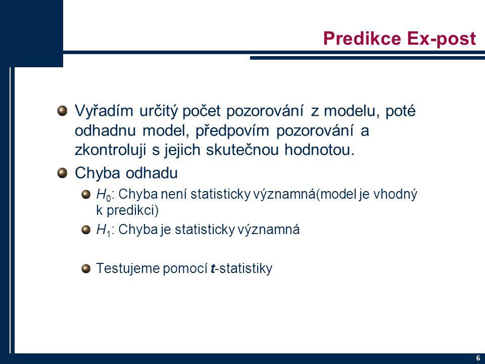 Predikce Ex-post Vyřadím určitý počet pozorování z modelu, poté odhadnu model, předpovím pozorování a zkontroluji s jejich skutečnou hodnotou.