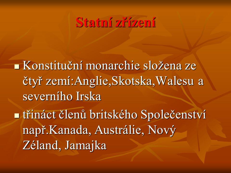 Statní zřízení Konstituční monarchie složena ze čtyř zemí:Anglie,Skotska,Walesu a severního Irska.