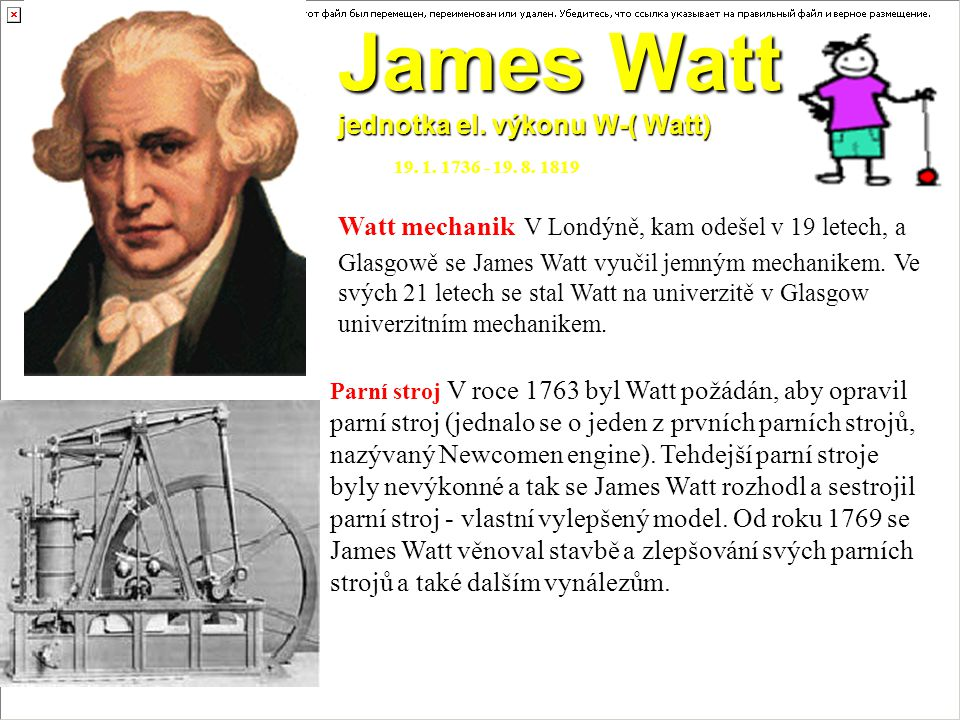 James Watt jednotka el. výkonu W-( Watt)