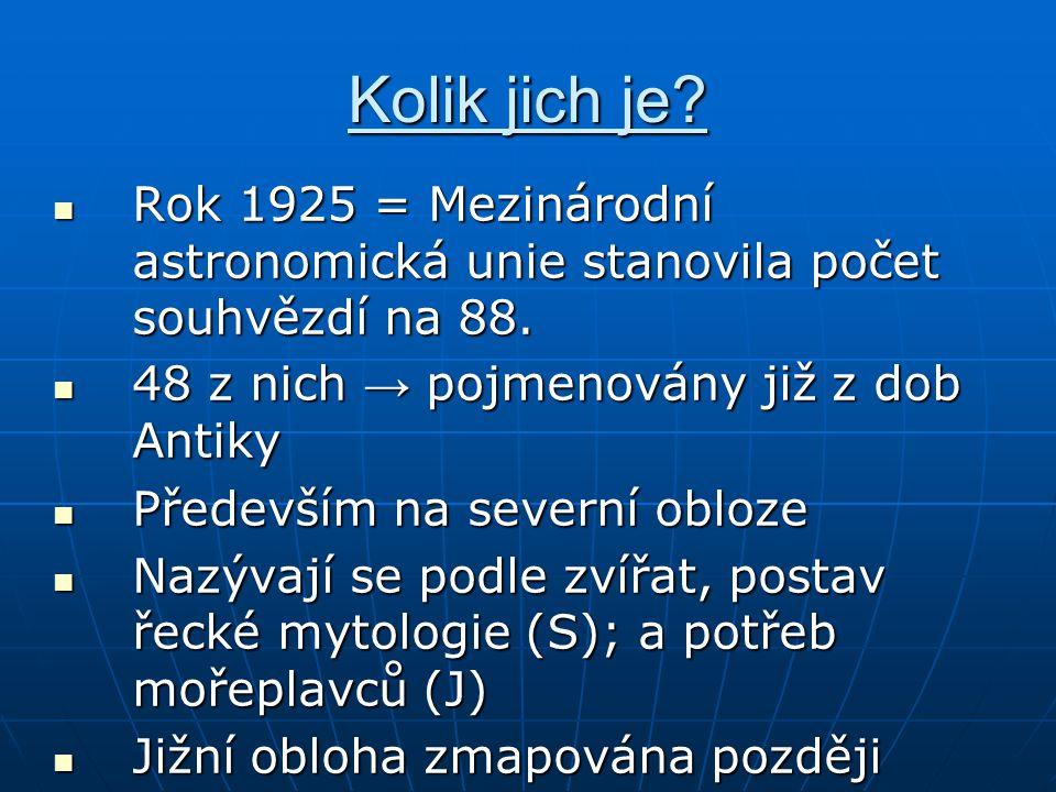 Kolik jich je Rok 1925 = Mezinárodní astronomická unie stanovila počet souhvězdí na 88. 48 z nich → pojmenovány již z dob Antiky.