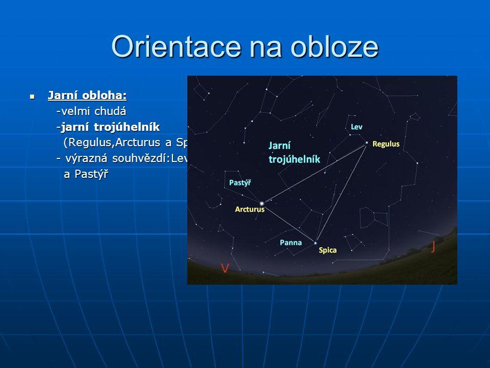 Orientace na obloze Jarní obloha: -velmi chudá -jarní trojúhelník