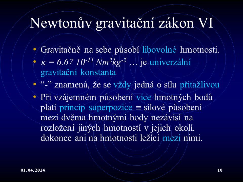 Newtonův gravitační zákon VI