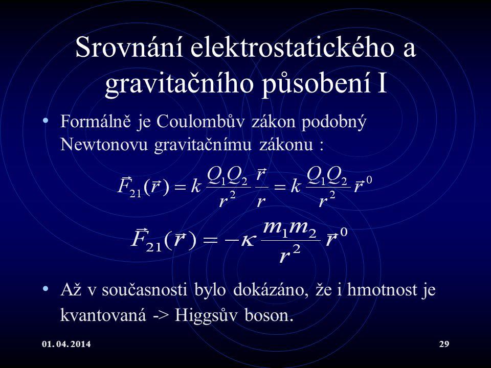 Srovnání elektrostatického a gravitačního působení I