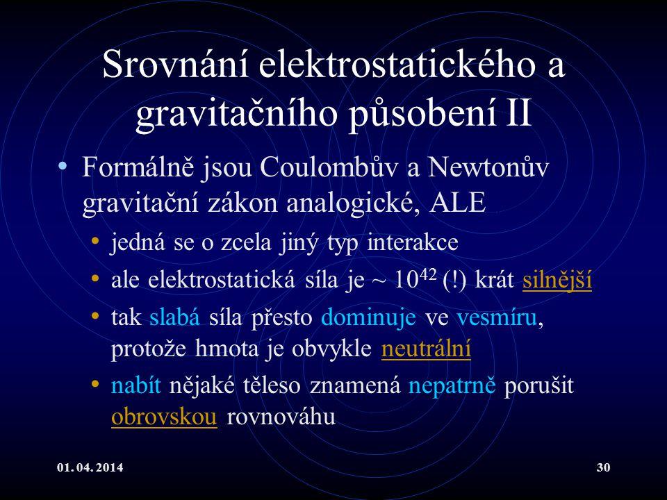 Srovnání elektrostatického a gravitačního působení II